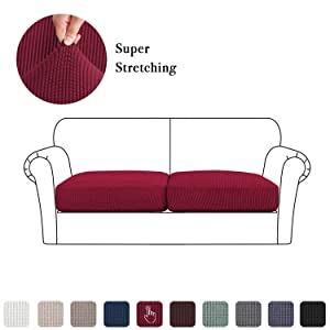 Stretch Couch Cushion Slipcovers 2 Pieces, Chair Sofa Seat Covers for Living Room, Spandex Coverings Anti Skid Furniture Protector (2 Pieces Cushion Covers, Burgundy Red)