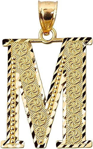 10K Solid Yellow Gold Tiny Initial Letter M Pendant Name M Letter Charm NEW