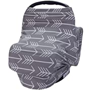 Nursing Breastfeeding Cover Scarf - Car Seat Canopy, Multi use Baby Car seat Cover for Girls and Boys,Grey Arrow