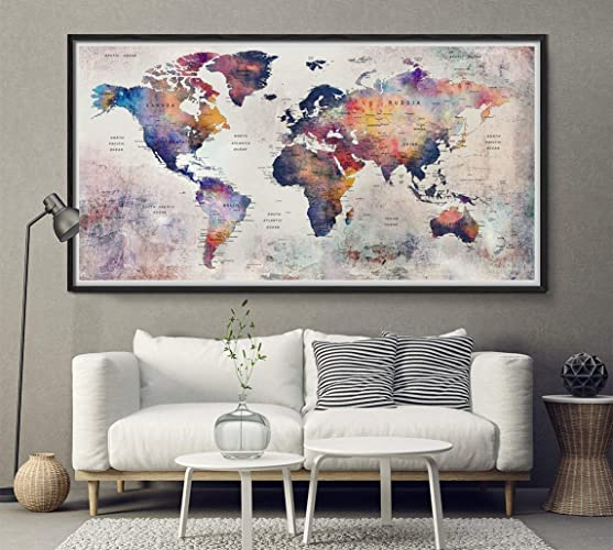 Decorative World Map Poster.Amazon Com Giant Push Pin World Map Wall Art Poster Rustic