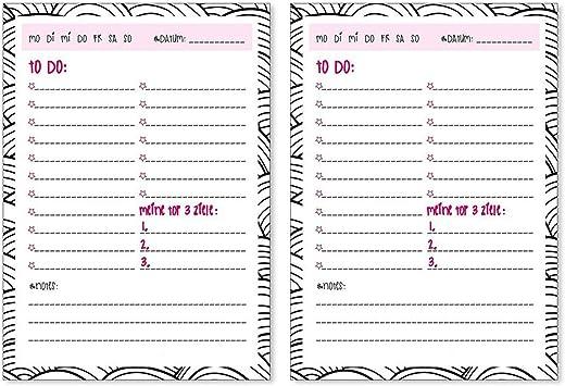 2 Notizbl/öcke To-Do-Liste I dv/_146 I DIN A6 I 50 Blatt I Set Vordruck zum Abhaken f/ür jeden Tag Haushalt Studium M/ädchen Freundin Paare