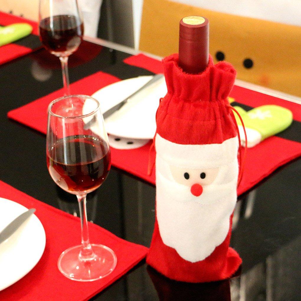 Aiming Sacs de Couverture de Bouteille de vin Rouge Noël Père Noël Noël Décoration de Dîner