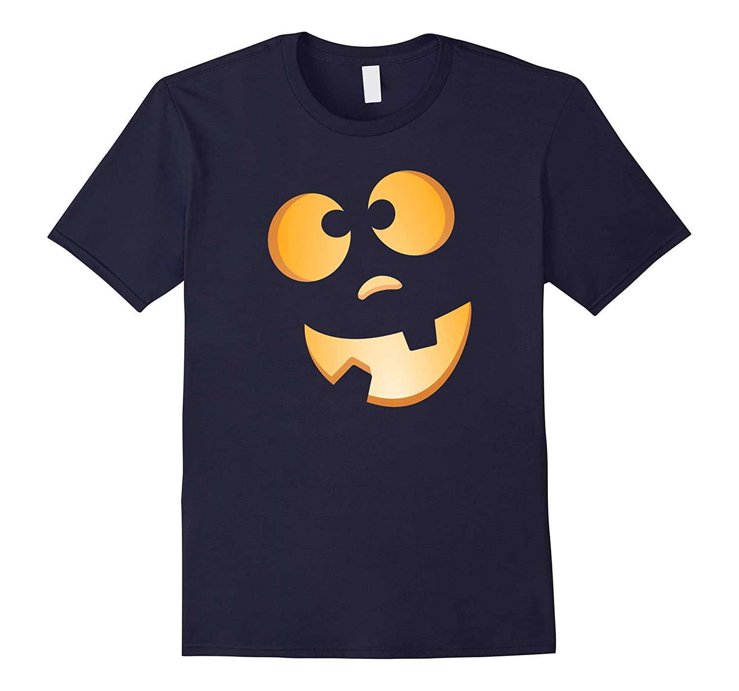 Dopey Halloween pumpkin Jack-o-lantern face shirt - on black-FL