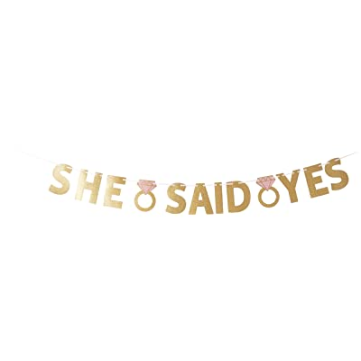 """She Said Yes Foil Letter Banner (12' Ribbon, 6"""" Letters): Toys & Games"""
