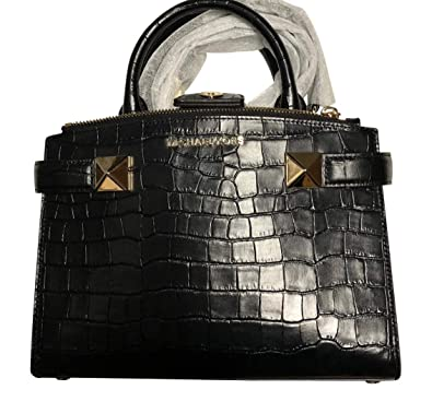 7bc777aaaba8 Amazon.com: MICHAEL KORS KARLA SMALL SATCHEL EAST WEST EMBOSSED CROSSBODY  HANDBAG (BLACK): Shoes