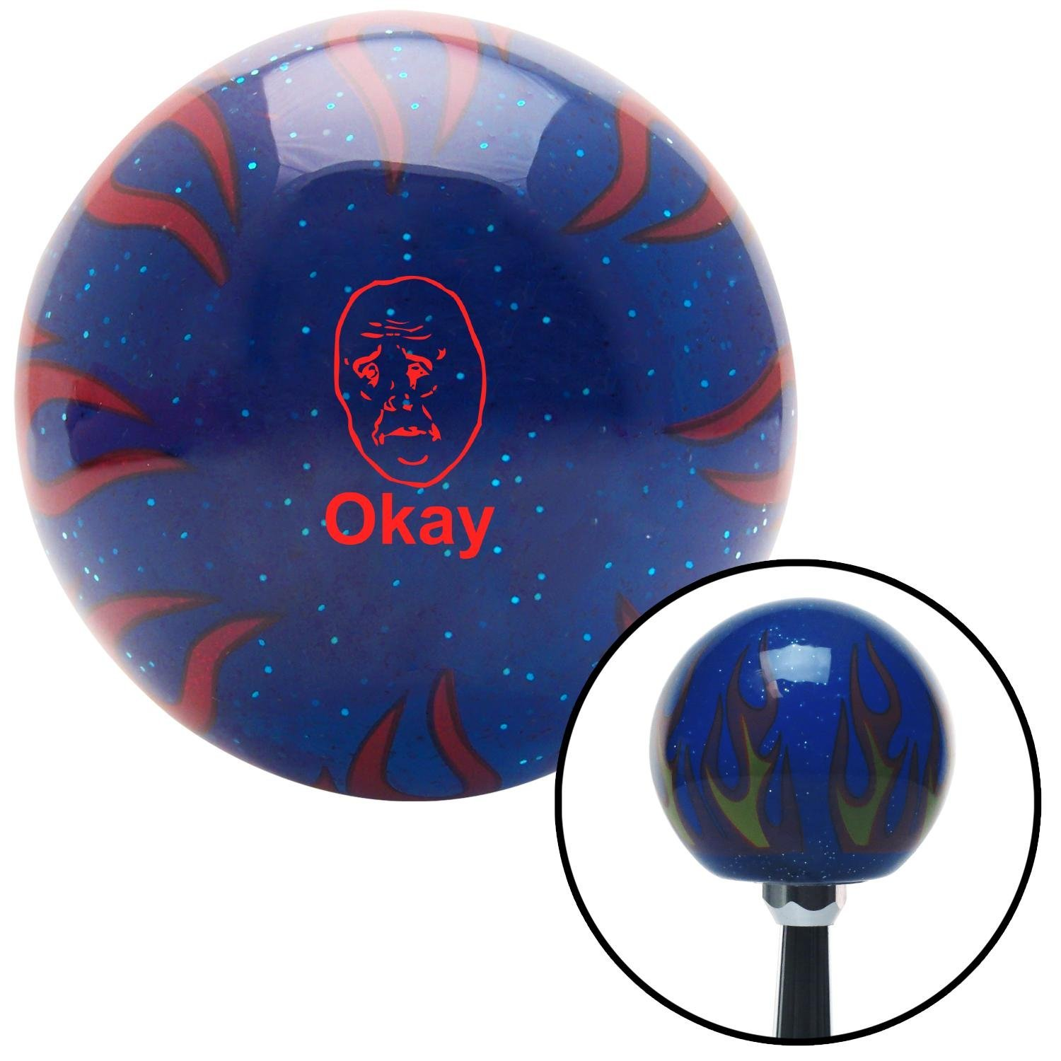 Red Okay Blue Flame Metal Flake with M16 x 1.5 Insert American Shifter 297800 Shift Knob