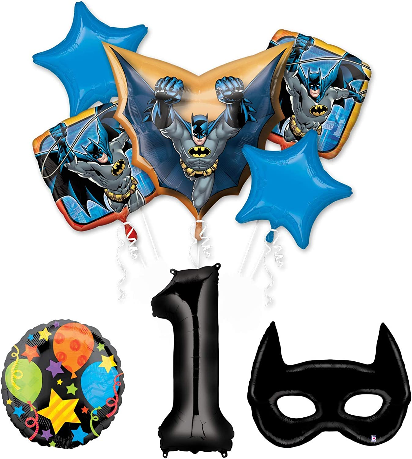 Mayflower Products Batman 1st Birthday Party Supplies and Bat Mask Balloon Bouquet Decoration