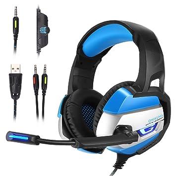 [PS4 Xbox one PC Estéreo Juego Auriculares] MallTEK Gaming Cascos Bajo Profundo Estéreo LED