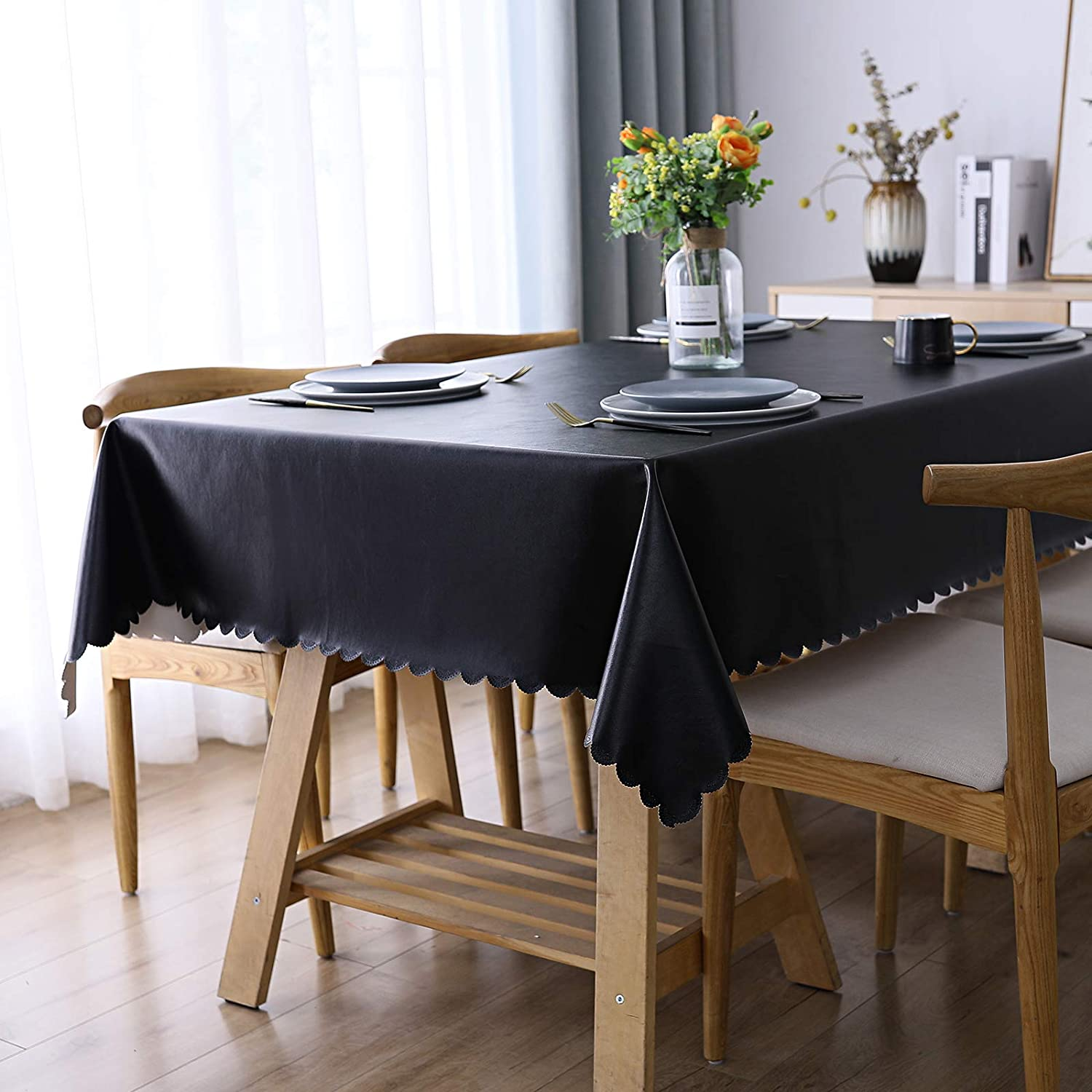 "Smiry Heavy Duty Vinyl Tablecloth, Waterproof and Oil-Proof Solid Color Wipeable Table Cloth, Washable Table Cover for Indoor and Outdoor Use(60"" X 120"",Black)"