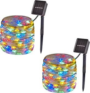 2-Pack, Outdoor Solar String Lights,33ft 100-LED Waterproof Solar Fairy Lights with 8-Modes for Outdoor/Indoor, Solar Christmas Lights for Garden, Party, Christmas Tree Decorations (Multi Color)