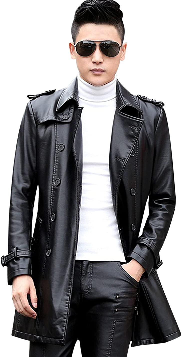 Normal, Thick Tanming Mens Belted Double Breasted Faux Leather Trench Coat Outerwear