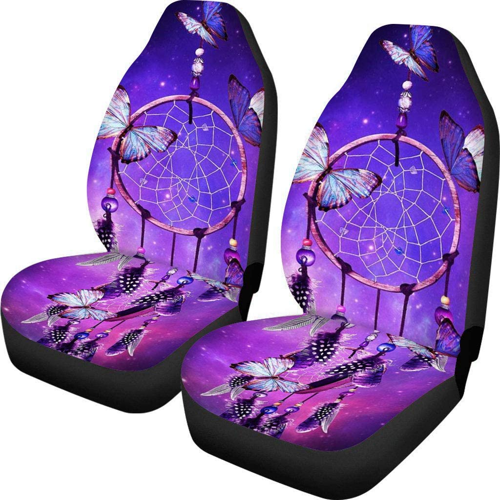 FUIBENG 6 Pcs Set Galaxy Watercolor Dreamcatcher Print Car Seat Cover Set//Steering Wheel Protector//Armrest Cover Pad//Seat Belt Shoulder Pads Universal Automotive Accessory