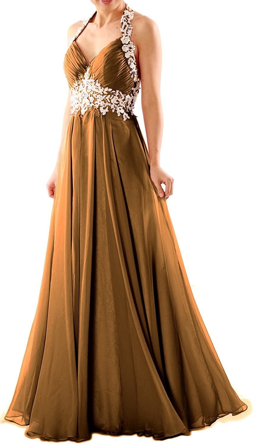 MACloth Women Halter V Neck Lace Chiffon Long Prom Party Dress Fromal Ball Gown