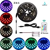 Led Strip Lights Battery Powered USB TV Backlight 2 in 1,abtong Battery Led Lights with RF remote RGB Led Strip Lights Waterproof Led Strip Lighting Multi Color Changing-2M/6.56ft