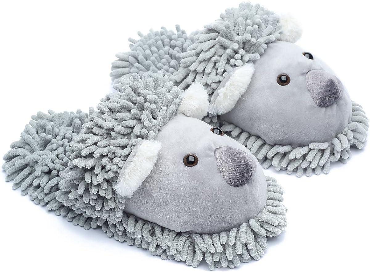 ofoot Womens Warm Fuzzy House Slippers Adult Cute Animal Shoes Non Slip Waterproof Rubber Sole,Monkey Rabbit Koala Fox Owl Cat Lion Bunny Gorilla