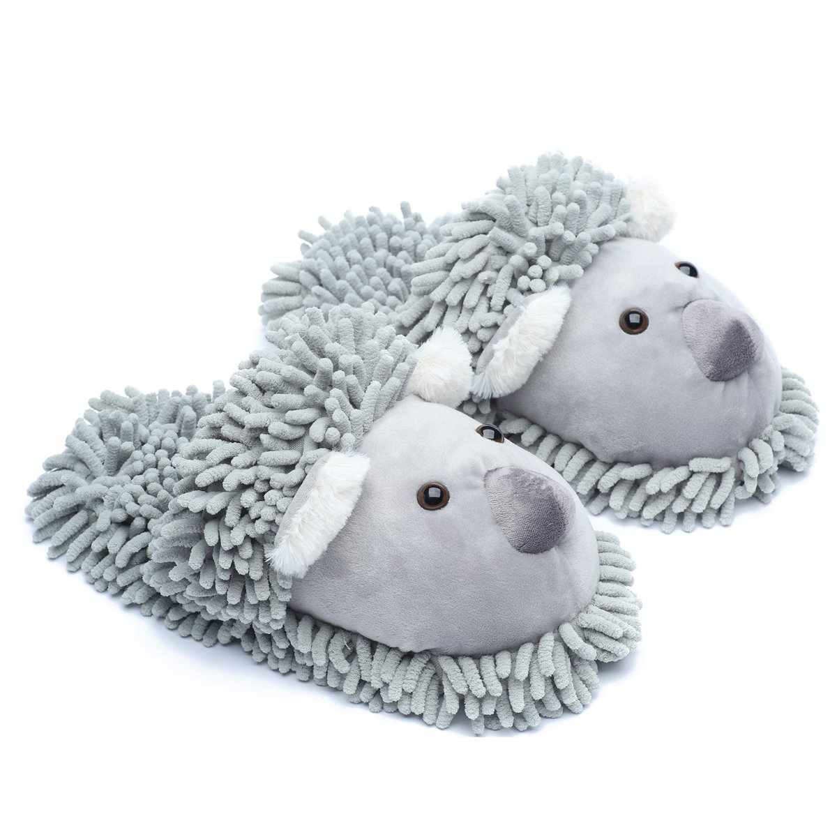 Ofoot Winter Warm Plush Anti-slip Indoor Animal Slippers for Women and Men (M/L 8-10 B(M) US, Grey(Koala))