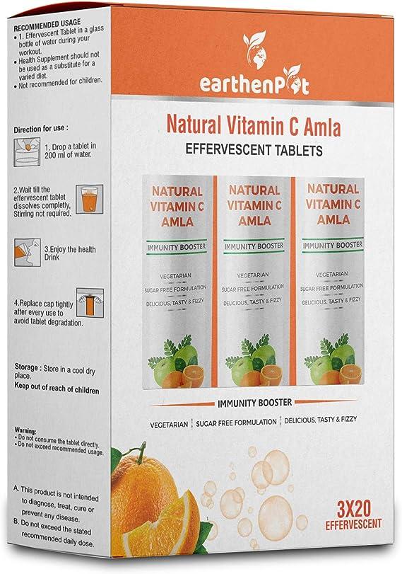 EarthenPot Natural Vitamin C Amla 1000mg for Immunity Booster – 60 Effervescent Tablets (Orange Flavour - No Sugar)