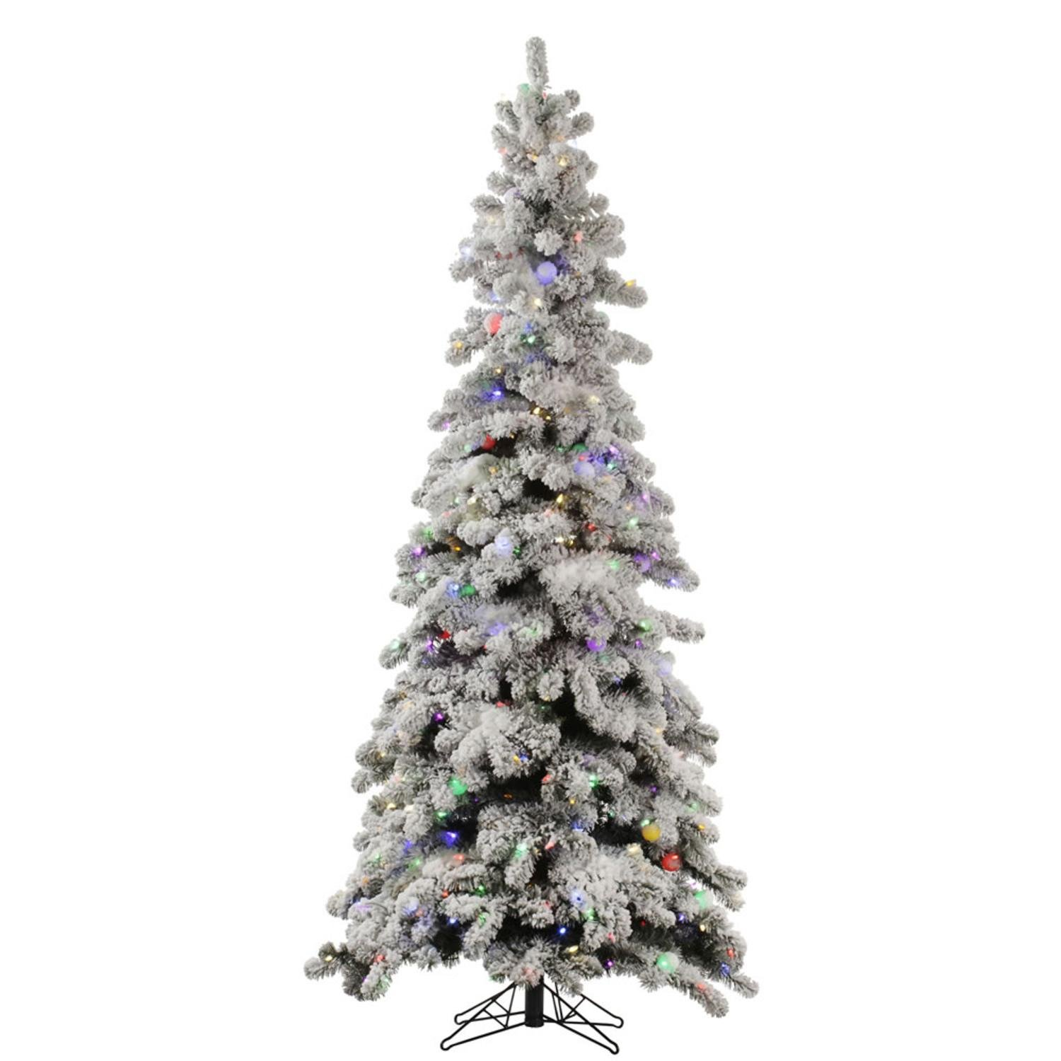 6' Pre-Lit Slim Flocked Kodiak Spruce Artificial Christmas Tree - Multi LED Lights