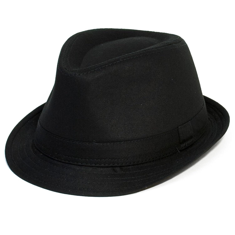 Hat To Socks Plain Black Trilby with Plain Black Stitched Band - Ladies Womens Mens Unisex (Black)