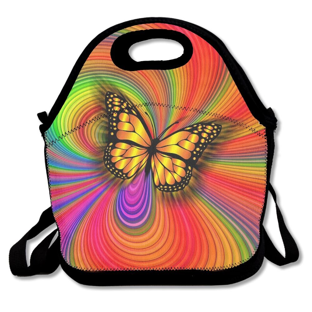 79bb4a8190 Amazon.com  Psychedelic Butterfly Fashion Lunch Tote Bags Lunch Box Food  Picnic Bags For Adults