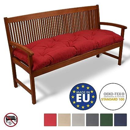 Beautissu Coussin pour Banc de Jardin Flair BK terrasse, Balcon -  balancelle - Banquette - Assise Confortable - 180x50x10cm - Rouge