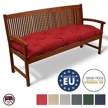 Beautissu Cojines para Bancos Flair BK 120x50x10 cm Cómodo Acolchado Banco de jardín/Columpio Hollywood Rojo