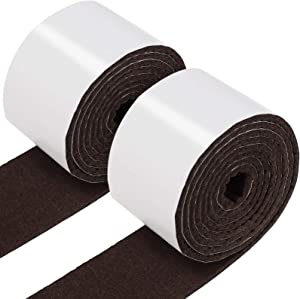 2 Packs Self Adhesive Felt Tape Polyester Felt Strip Roll 118 x 1.97 x 0.12 Inch Felt Adhesive Strip Tape for Furniture and Hard Surfaces (Dark Brown)