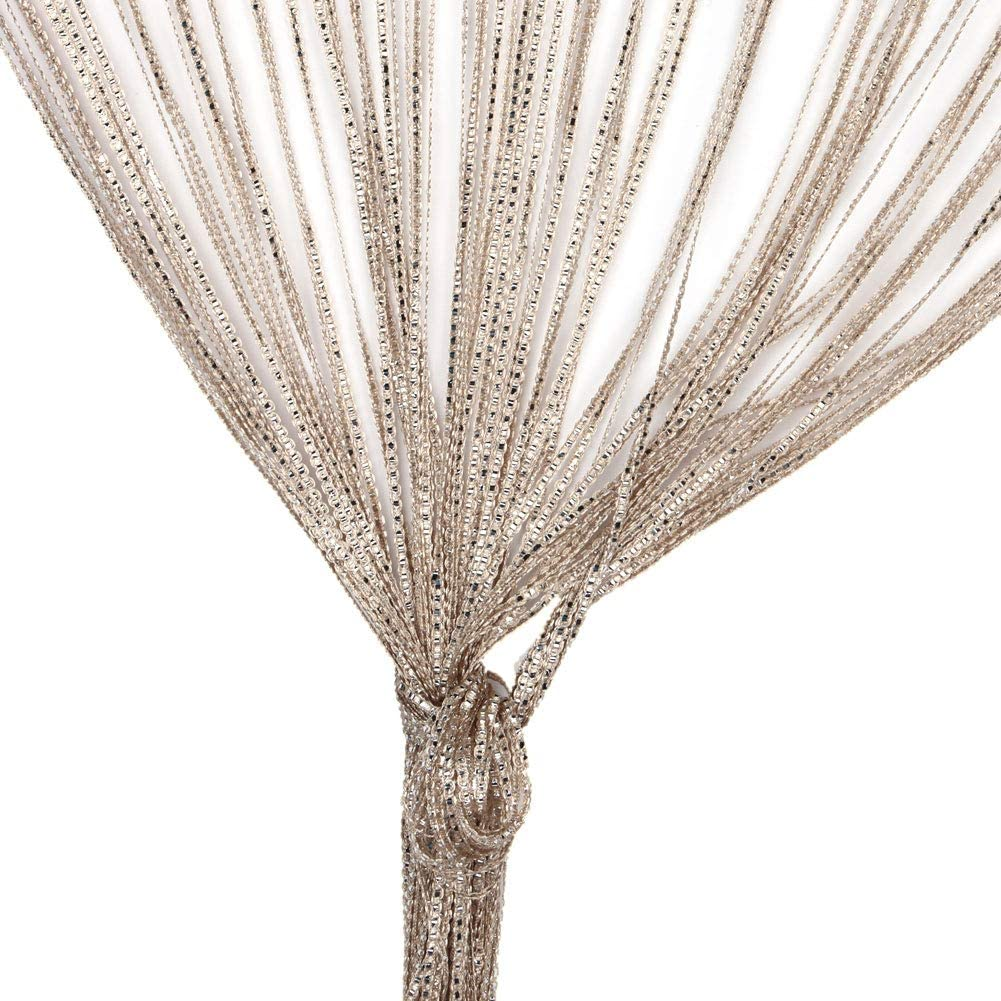Door String Curtain, Wall Panel Fringe Window Room Divider Blind, Home Patio Bedroom Decorative Tassel Screen Ribbon Strings Strip Silver Thread Screen for Wedding Coffee House (Champagne)