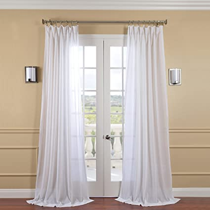 Half Price Drapes SHFLNCH M011 120 Faux Linen Sheer Curtain White Orchid