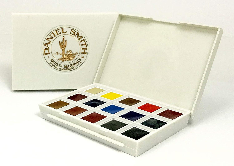 Daniel Smith Hand Poured Watercolor Half Pan Set of 15, with Bonus 15 Empty Half Pans, Ultimate Mixing Set (285650009)