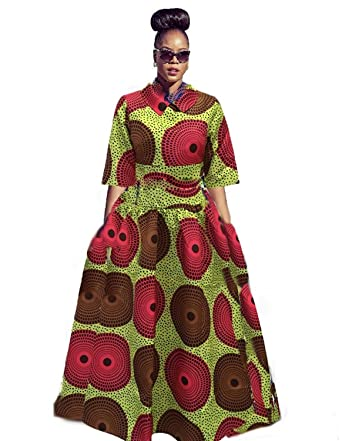 d01dbd919bfac Amazon.com: Womens African Dress Maxi Dashiki Print Fit and Flare Half  Sleeve Expansion 2 Pcs Skirt with Pockets: Clothing