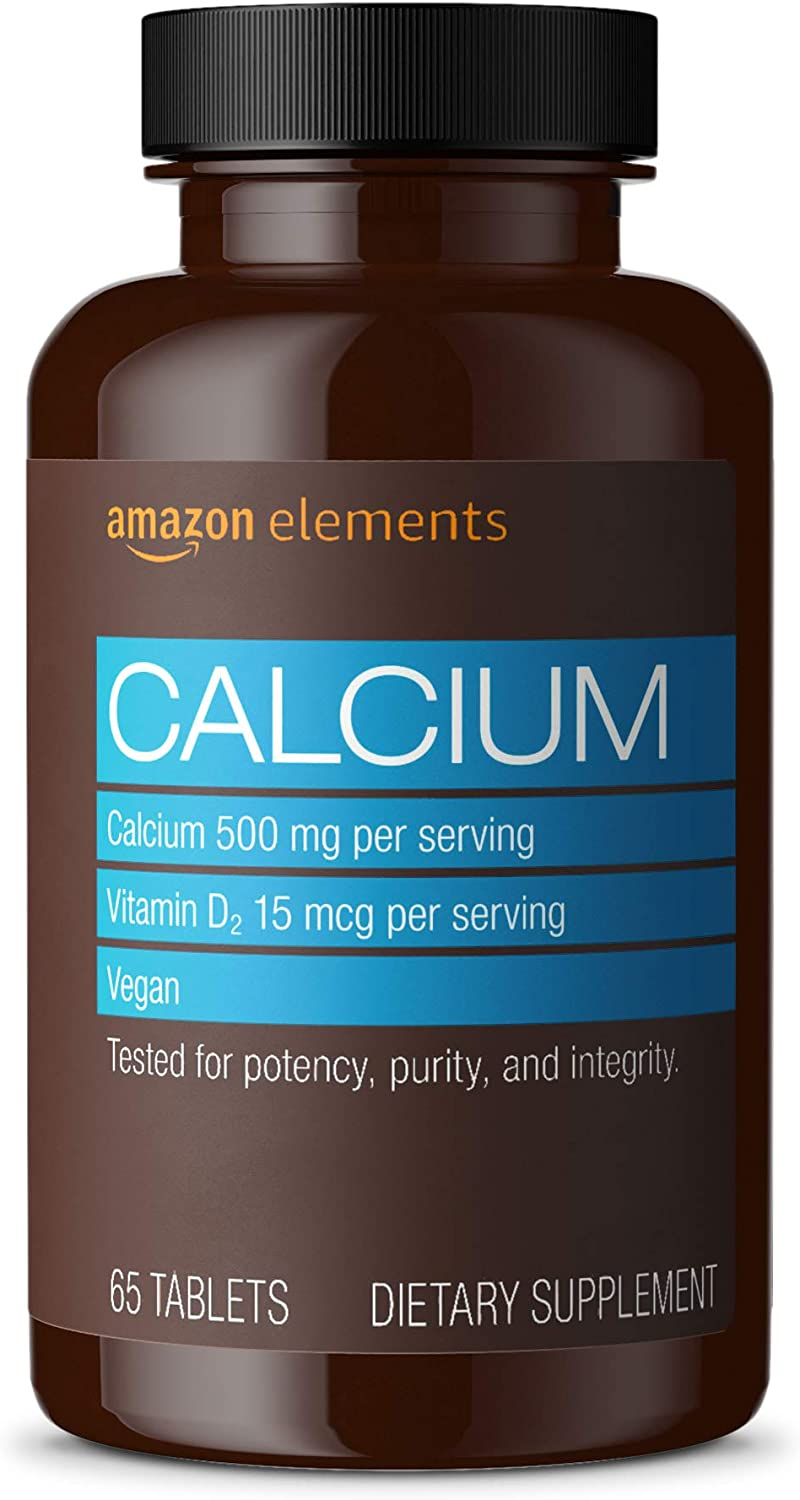 Elements Calcium plus Vitamin D, Calcium 500mg with D2 600IU, Vegan, 65 Tablets (2 month supply) (Packaging may vary), Supports Strong Bones and Immune Health: Health & Personal Care