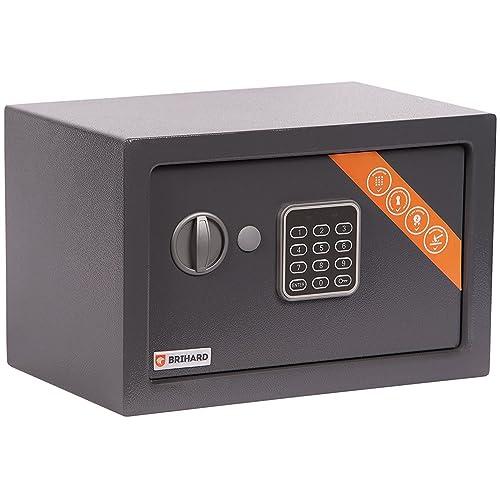 Brihard Home Electronic Safe, 20x31x20cm (HxWxD), Titanium Grey
