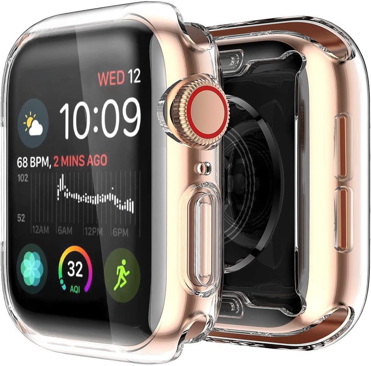 Yolin [2-Pack] Compatible with Apple Watch Series 4 Screen Protector, iwatch Cover Soft Transparent TPU All-Around Protective Case for Apple Watch Series 4 40mm
