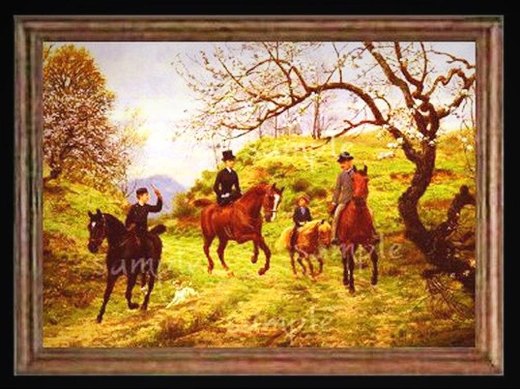 Sidesaddle on Horses Miniature Dollhouse Picture