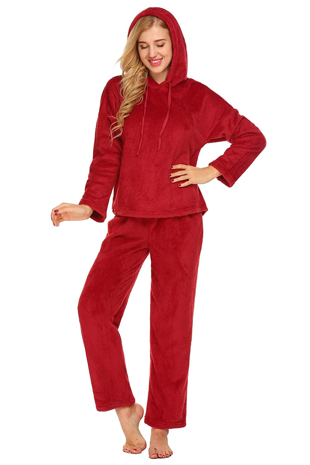 Dark Red Aimado Plush Robe Womens Fleece Spa Bathrobe Turtleneck Warm Nightgowns SXXL