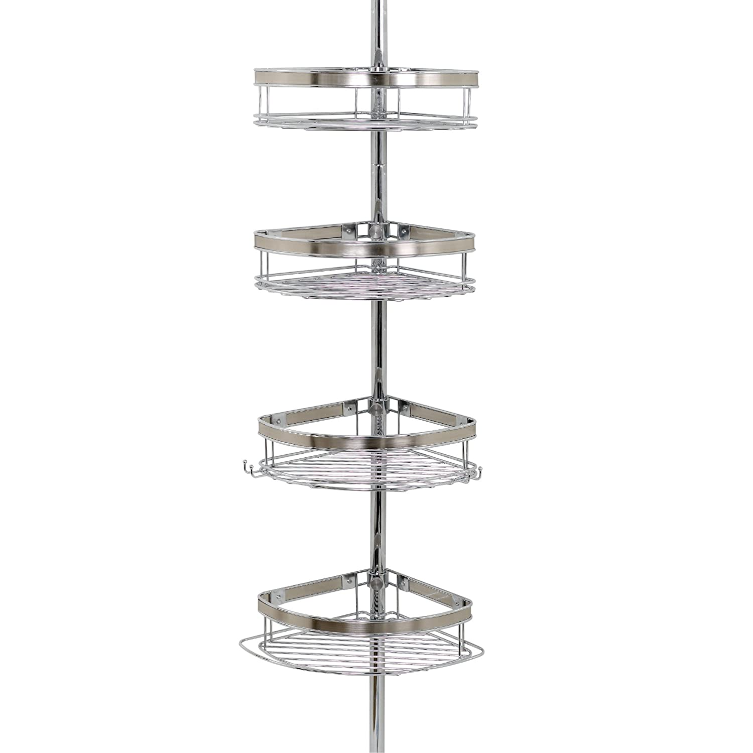 Amazon.com: Zenna Home 2133NS, Tension Corner Pole Caddy, Chrome ...