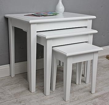 Beistelltisch antik weiß  elbmöbel 3x Tisch Beistelltisch antik weiß Landhaus Shabby Chic ...