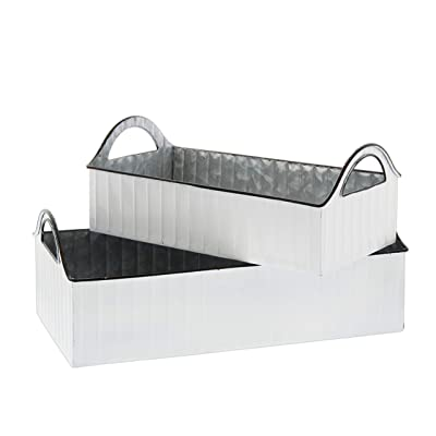 Set of 2 Rectangular Metal Bucket Planter Trays (White) : Garden & Outdoor
