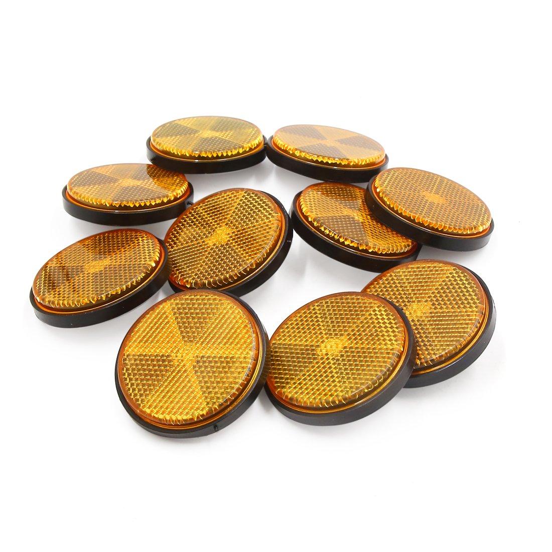 10pcs 59mm Orange Plastic Screw Reflective Warning Reflector for Motorcycle
