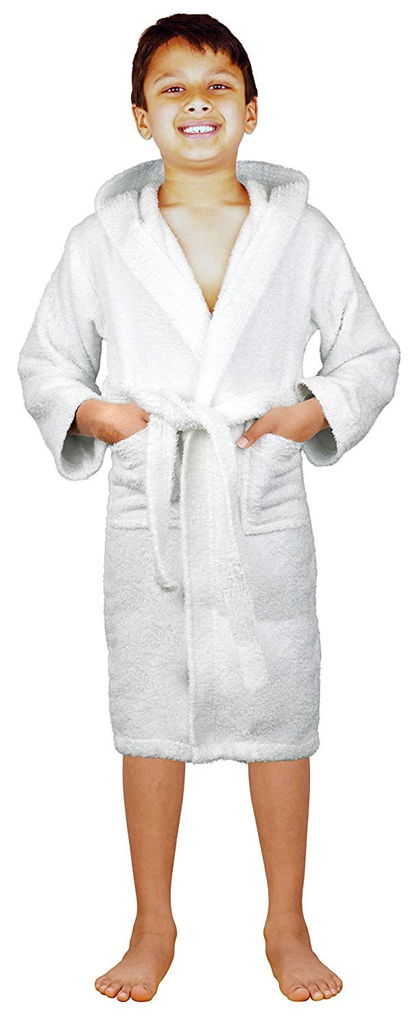 74fcead883 Amazon.com  SKYLINEWEARS Terry Cloth 100% Cotton Kid s Boys   Girls Unsex  Fit Hooded Bathrobe  Clothing