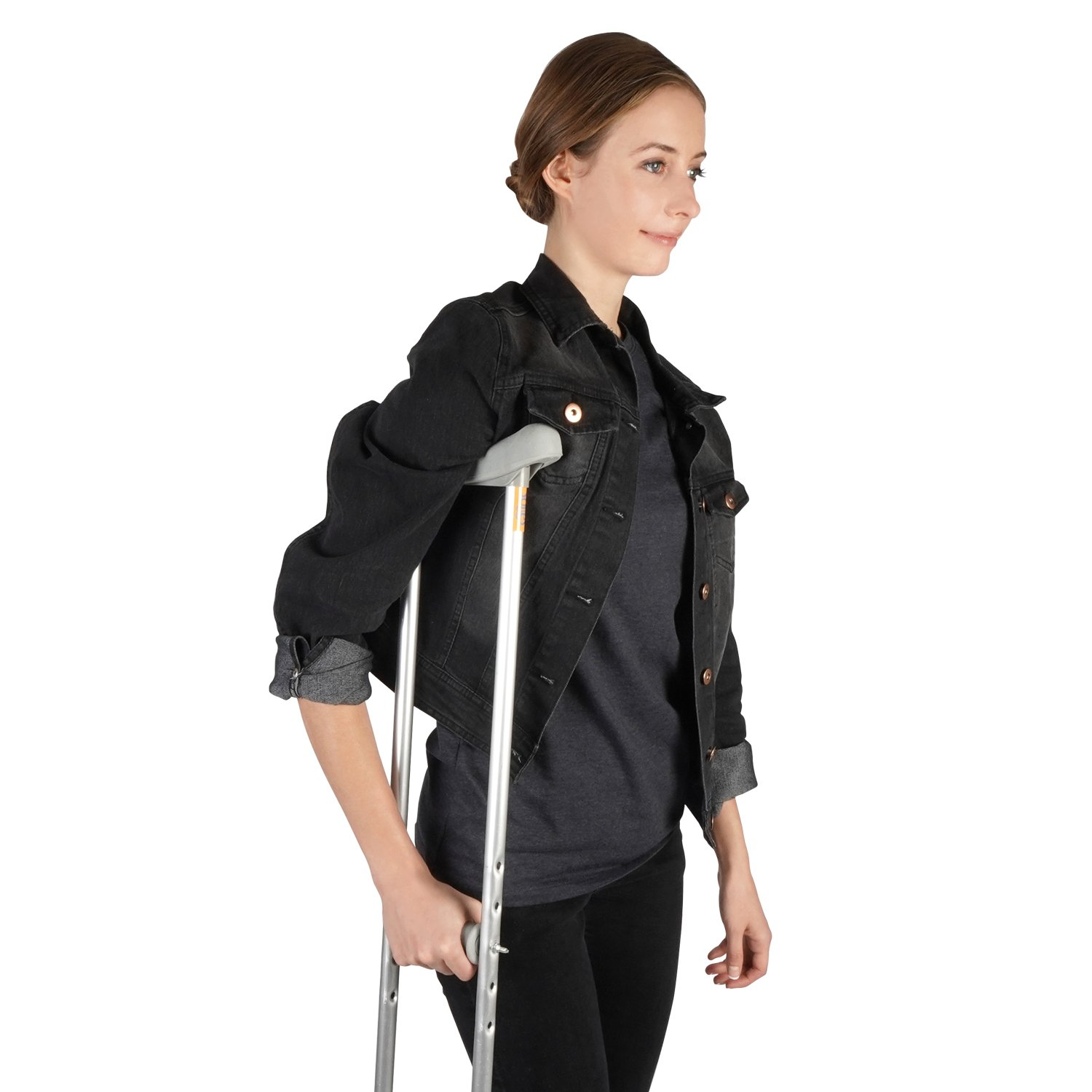 Soles Walking Crutches (Aluminum) - Adjustable Post Injury or Surgery Support for Men, Women and Teens - Lightweight, Durable with Ergonomic Grips and Armpit Foam (Medium)