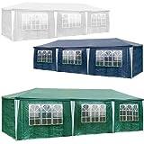 TecTake Tonnelle Tente Gazebo Pavillon de jardin d'événement pour fête 9 x 3 m - diverses couleurs au choix - (Vert   no. 401292)