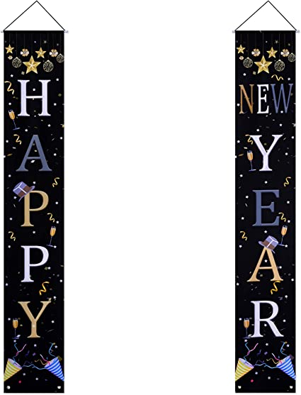 2021 Happy New Year Door Sign New Year Hanging Banners Hanging Banner Decoration Set for New Years Eve Party Supplies Holiday Christmas Party Decorations