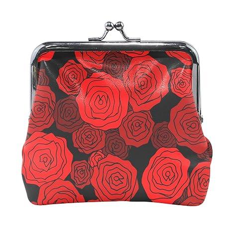 COOSUN Rosa roja patrón de cuero de la moneda de cierre del ...