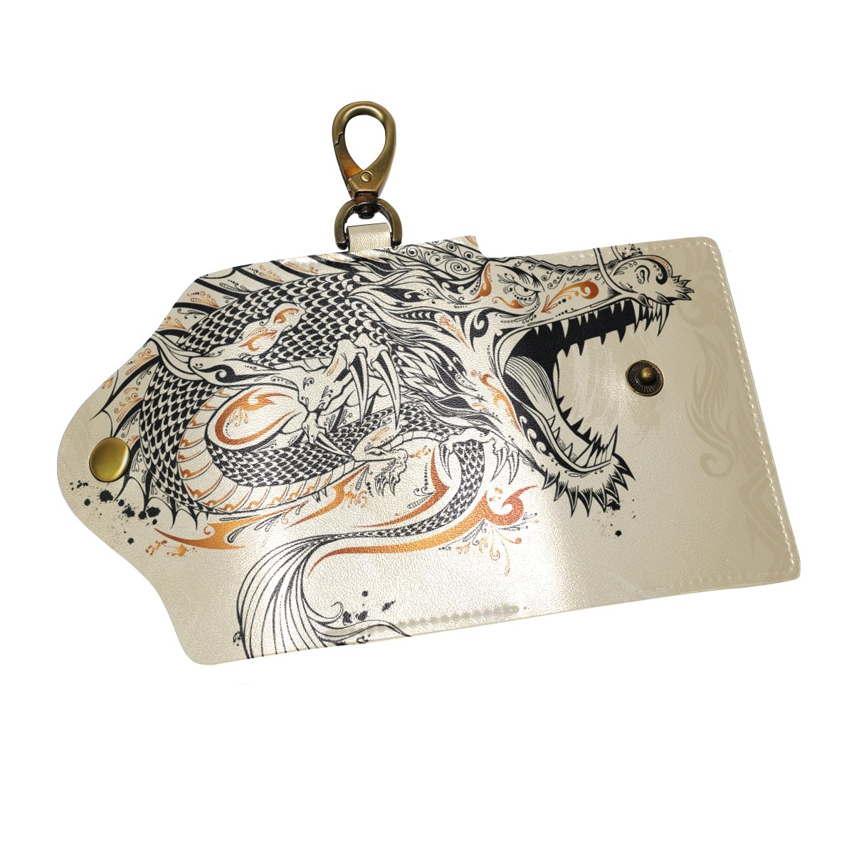 KEAKIA Dragon Doodle Sketch Leather Key Case Wallets Tri-fold Key Holder Keychains with 6 Hooks 2 Slot Snap Closure for Men Women