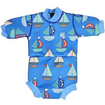 Splash About Happy Nappy - Traje de Neopreno para niños, Color Azul (Barcos)