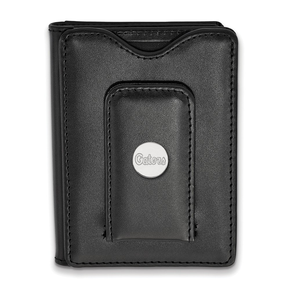 Sterling Silver University of Florida Black Leather Wallet Mens Florida 79 mm 114 mm Leather Black Wallets Accessory