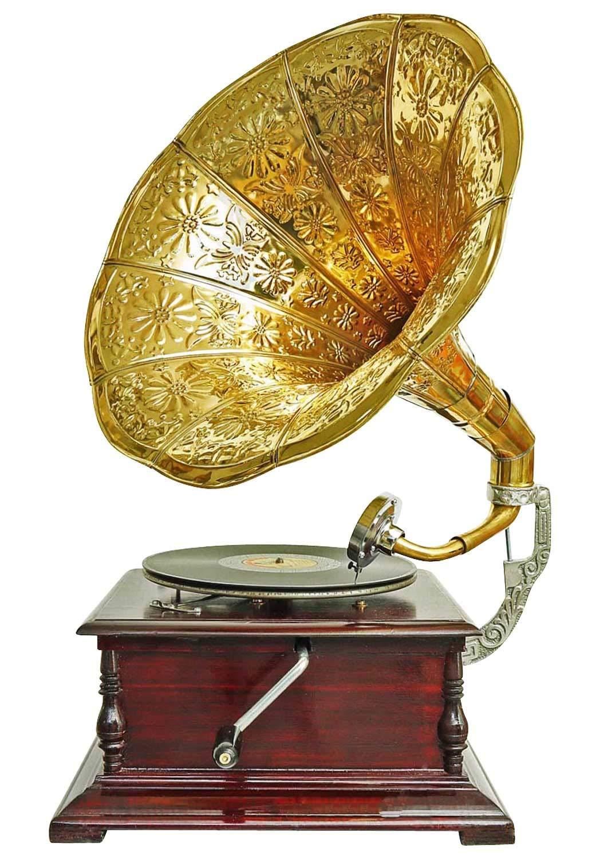 Nostalgia grammofono gramophone imbuto decorazione in stile antico m2