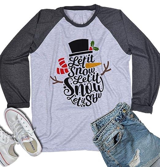 a57f3c8f Let it Snow Snowman Christmas Shirts for Women Men Holiday Vacation Unisex  Raglan Long Sleeve Baseball